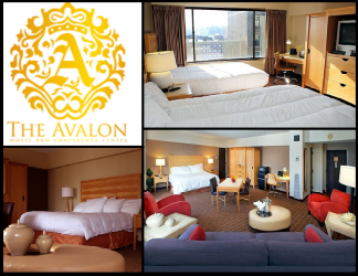 avalon hotel guest rooms and logo